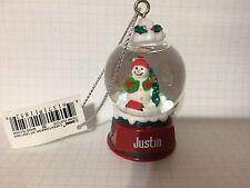 Ganz Glass Snowman Snowglobe Ornament JUSTIN Stocking Stuffer Office Gift NEW!