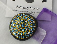 Hand Painted Alchemy Stone w. Blue, Yellow, White & Gold Geometric Mandala