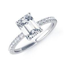 1.82 Ct VVS1 Emerald Bridal Diamond Engagement Ring 14K Solid White Gold Rings
