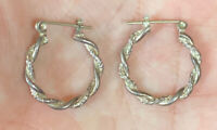 Vintage Sterling Silver 925 Braided Hoop Pierced Earrings 1""