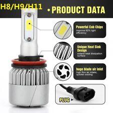 2PCS H8/H9/H11 COB 6500K 8000LM CAR S2 LED Headlight Kit High Low Light Bulbs GW
