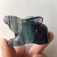Hand Carved Natural fluorite quartz gemstone crystal Animals -The Rabbit reiki