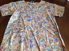 Cottonality seashells pattern scrubs top women's size M