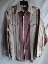 Made in USA Vtg Mens 16-1/2 Wrangler Striped Pearl Snap Western Shirt Ultra Thin