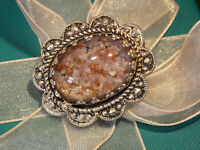 Vintage brooch silver and foiled glass stone
