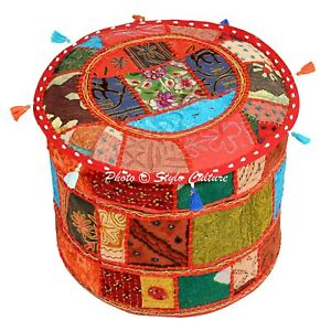 Ethnic Round Colorful Pouf Cover Patchwork Hassock Ottoman Bohemian Footstool