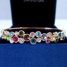 18k gold GF bubble solid ladies bangle bracelet w/ swarovski elements crystal