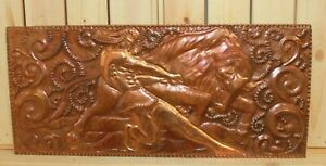Vintage hand made wall hanging copper plaque bullfight