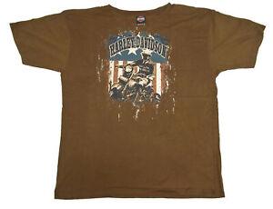 Harley Davidson T-Shirt Mens Sz XXL Doerflers Hays Kansas Brown 100% Cotton