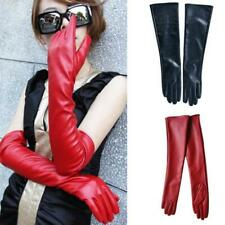Long Leather Women Gloves Elbow Lined Soft Ladies Winter Warm Evening Party UK
