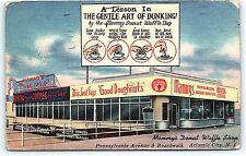 Postcard NJ Atlantic City Mammy's Donut Waffle Shop Restaurant Vintage Linen C35