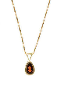 Garnet Pendant and Earrings Set Yellow Gold Solid Hallmarked