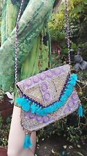 Fair Trade Bohemian Ethnic Floral Embroidered Beaded Shoulder Bag with Tassels