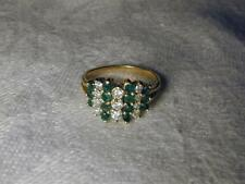 Gorgeous Estate 14K Yellow Gold Emerald Diamond Mosaic Band Ring