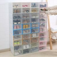 Plastic Shoe Storage Boxes Drawer Stackable Foldable Organiser Clear Duarble