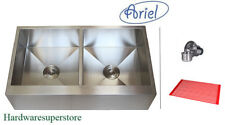 "36"" Stainless Steel FLAT Front Farm Apron Double Kitchen sink Zero Radius Ariel"