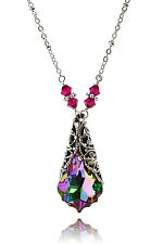 Baroque Crystal Filigree Pendant Necklace with Crystal by Swarovski