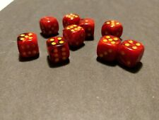 Chessex Vortex Red w/ Yellow pips 12mm d6 - 9 dice / OOP