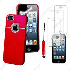 Housse Coque Silver-Line chromé Rouge Apple iPhone SE 5S 5+Mini Stylet+3 Films