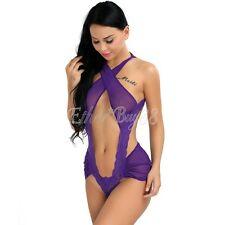 Women Sexy One Piece Lingerie Bodysuit Halter Lace See-through Teddies Nightwear
