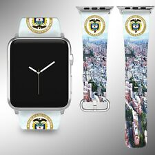 Colombia Coat of Arms Apple Watch Band 38 40 42 44 mm Fabric Leather Strap