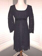 NWT MSSP Gorgeous Long Sleeve Black Lace Dress With Velvet Trim Size M