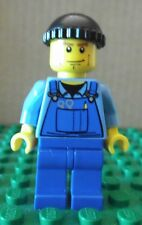 LEGO MINIFIGURE – TOWN CITY – BLUE OVERALLS, TOOLS – BLACK KNIT CAP–GENTLY USED