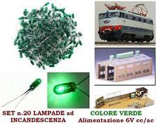 SET N.20 MICRO LAMPADE a INCANDESCENZA MM.03 6V a LUCE VERDE per SCALA-N e HO