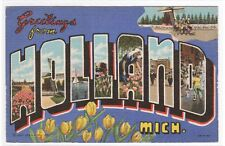 Holland Michigan Large Letter linen postcard #1
