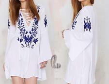 AU SELLER BOHO Soft Cotton Embroidery Tunic Kaftan Top/Beach Cover Up sw064