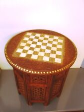 Vintage Look Chess Board Carved Inlaid Work Coffee Round Table Foldable Art Deco