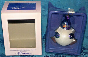 PEGGY ABRAMS MOUTH-BLOWN HAND-PAINTED GLASS SNOWMAN ORNAMENT CHRISTMAS NEW NIB