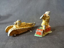 Old Vtg Barclay Military Lead Toy Soldier Tank Tanker Toy LOT Man Kneeling