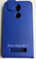 Telstra Tough Max 2 T85 Card Slot  Holder Leather Flip Pouch Case -Blue
