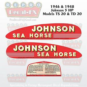 1946-48 Johnson 5 hp Models TS20 & TD20 Outboard Reproduction 3 Pc Vinyl Decals