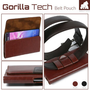 Leather Belt Pouch Holster Strong Magnetic Flip 2 Loops Clip for Mobile Phones
