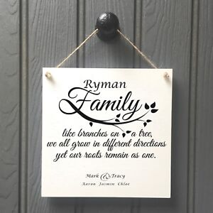 Personalised Family Name Plaque Sign - New Home Like Branches On A Tree Surname