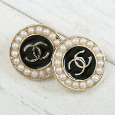 Chanel Buttons CC ✨ Black w/ Fux Pearl Gold 19 mm Unstamped 2 Buttons +FREE GIFT