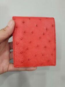 RED genuine ostrich Leather Skin MEN'S BIFOLD WALLET