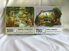 Lot of 2 Puzzles Bits/Pieces 500 Forest Creek & 750 Cabin in the Wild