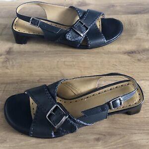 Hotter Enthuse Dark Navy Leather Slingback Sandals Size UK5 (eur38) Women's