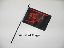 "RAVEN VIKING SMALL HAND WAVING FLAG 6"" x 4"" Odinic Raven Table Desk Display"