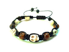 Men's stone shamballa beaded bracelet wristband gems jewelry TIGER'S EYE SKULL