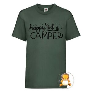 Kids Happy Camper T-shirt - gift, present, trend, personalised, outdoors,explore