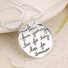 New Sterling Silver LEARN-LIVE-HOPE Inspire Pendant Necklace FAST FREE SHIPPING