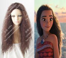 cosplay wig Moana Waialiki Dark Brown Curly hair wig Disney  Anime party wig 、
