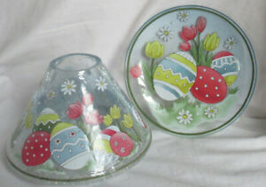 Yankee Candle Jar Shade Tray EASTER CRACKLE Set of 2 pcs spring eggs tulips