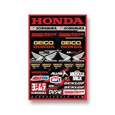 "NEW D'COR HONDA GEICO MOTORCYCLE MX VINYL DECAL SHEET 12 mil 12""x18"""
