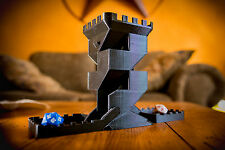 Black 3D Printed Dice Tower With Folding Trays