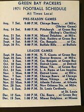 Green Bay Packers 1971 Nfl schedule card